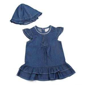 Комплект от нежна рокличка на точки и шапчица Babaluno