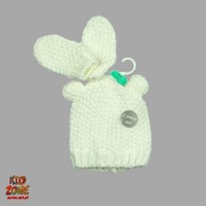 Сладурска шапка с ушички в комплект с ръкавички George